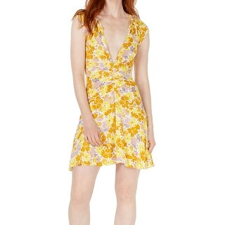 Link to Free People Womens Dresses Yellow Size XS Plunged V-Neck Sheath Floral Similar Items in Dresses