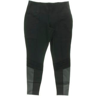 Lysse Womens Plus Ponte Faux Leather Trim Leggings