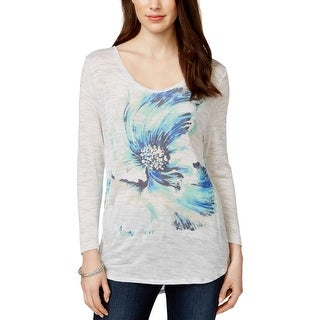 Lucky Brand Womens Pullover Top Floral Print Long Sleeves