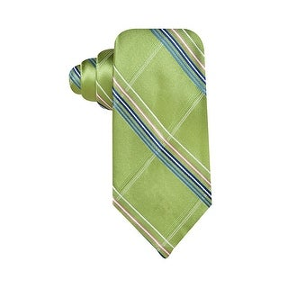 Geoffrey Beene Mens Hand Made Big Grid Plaid Classic Neck Tie Green