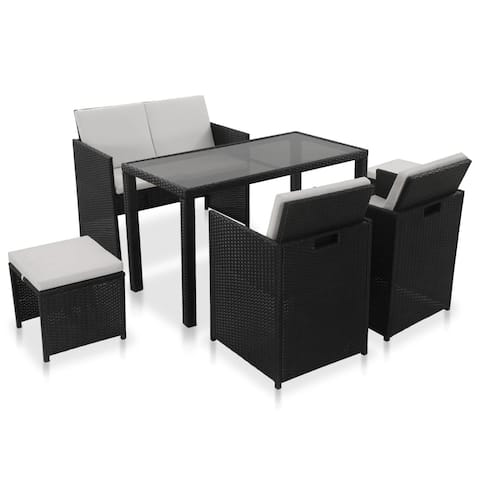 vidaXL 6 Piece Outdoor Dining Set with Cushions Poly Rattan Black Chair Table