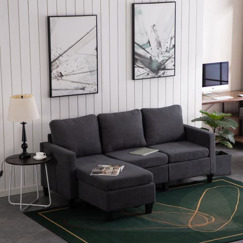 Reversible L-shaped Sectional Sofa Set