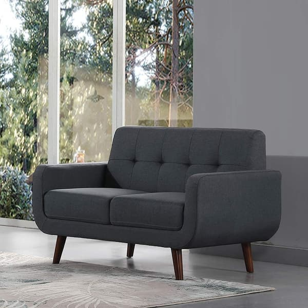 Linen Fabric Sofa Bed Upholstered Modern Tufted Loveseat Futon Sofa  Entertainment (Dark Grey) - Dark Grey