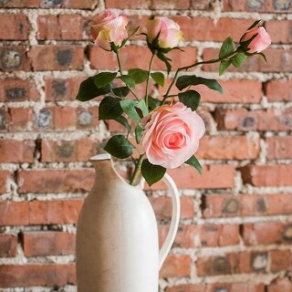 """G Home Collection Rustic Silk 4 Rose Bloom Stem in Light Pink Color 31"""" Tall"""