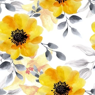 Cosmos Watercolor Flowers Removable Wallpaper - 24'' inch x 10'ft