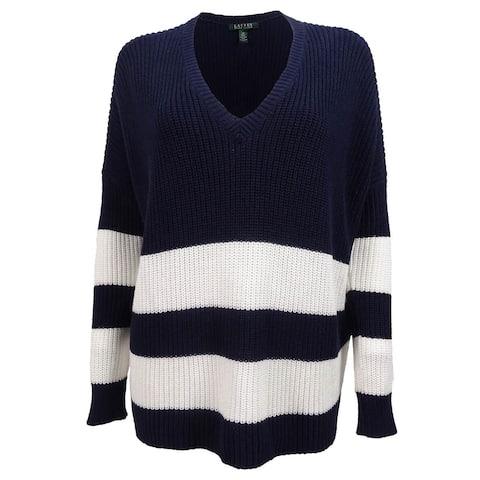 Ralph Lauren Women's V-Neck Striped Overstized Sweater