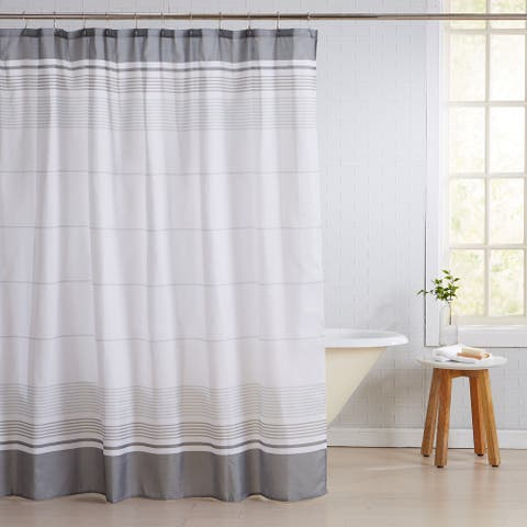 Great Bay Home Striped 13-Piece Shower Curtain and Metal Hook Set