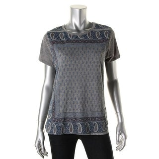 Lucky Brand Womens Graphic Short Sleeves Pullover Top