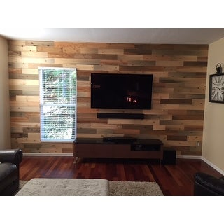 Timberchic Reclaimed Wooden Wall Planks - Peel and Stick Application (20 Sq. Ft.) (River Planks) - Multi-color