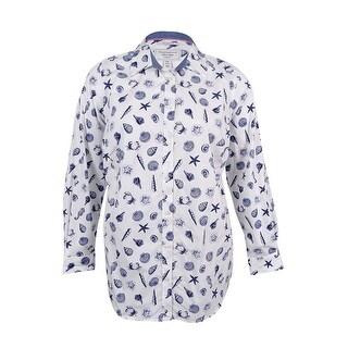 Charter Club Women's Plus Size Shell-Print Shirt (14W, Bright White Combo) - bright white combo - 14W