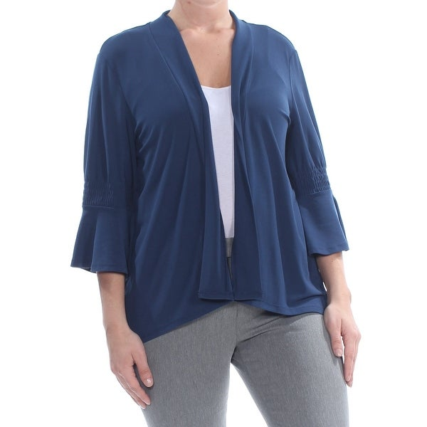 CECE Womens Navy 3/4 Sleeve Open Cardigan Wear To Work Top Size L