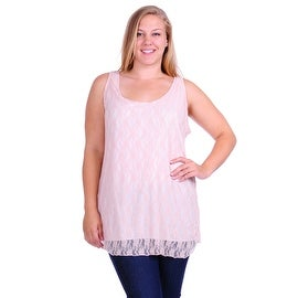 Simply Ravishing Women's Plus Size Sleeveless Lace Double Layered Tank Top