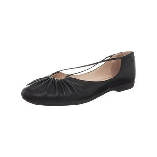 Taryn Rose Womens Bryan Ballet Flats Faux Leather Ruched