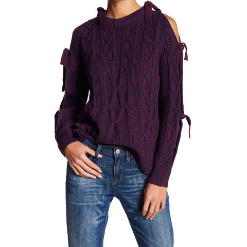 Project Naadam Purple Women Small S Cold-Shoulder Pullover Sweater