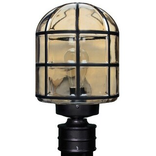 Costaluz 3417-POST 1 Light Incandescent Post Light with Smoked Glass Shade