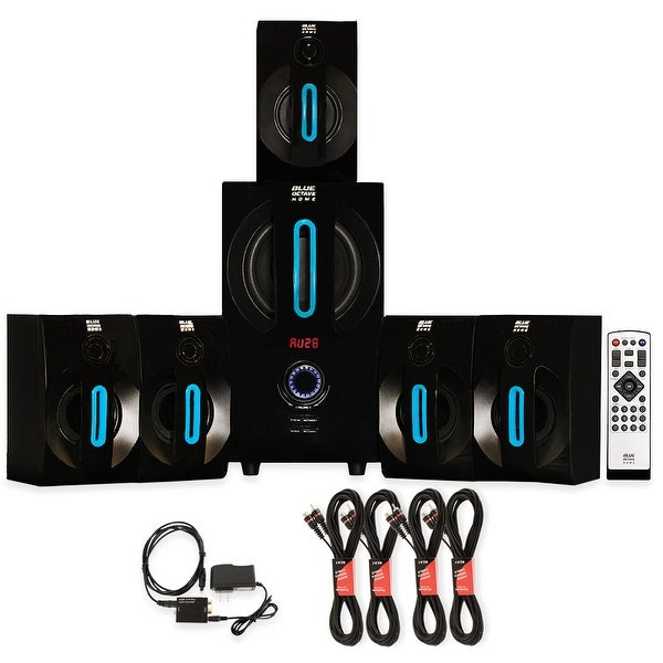Blue Octave B52 Home 5.1 Bluetooth Speaker System with Optical In & 4 Ext Cables