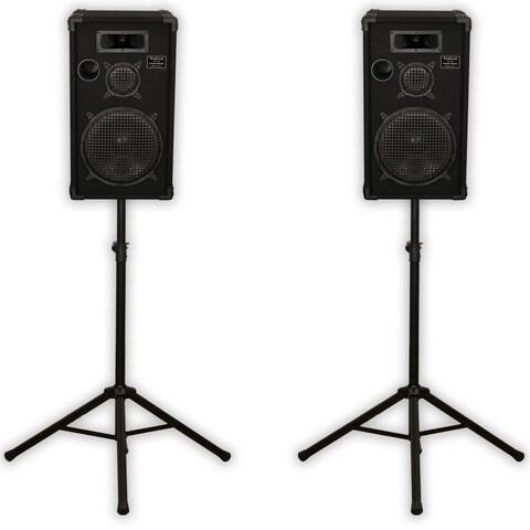 "Podium Pro E1200C Passive 3-Way Speakers 12"" Pair and Stands 1000 Watt for DJ PA"