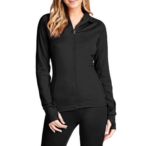 NE PEOPLE Womens Long Sleeve Thumb Hole Detailed Zip Up Track Jackets NEWJ222