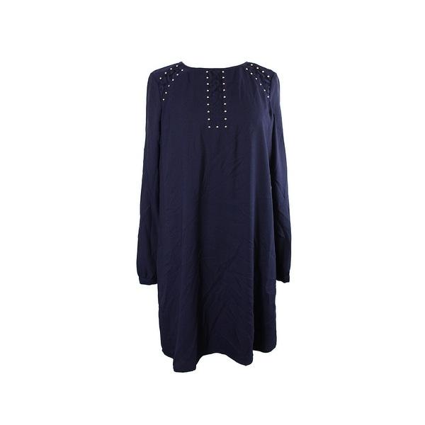 40d5a06574d Shop Jessica Simpson Navy Long-Sleeve Lace Inset Studded Shift Dress ...