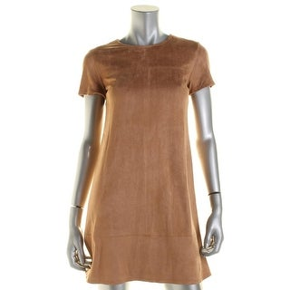 Aqua Womens Casual Dress Faux Suede Stretch
