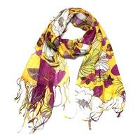 Women's Fashion Floral Soft Wraps Scarves - F10 Yellow Purple - Large