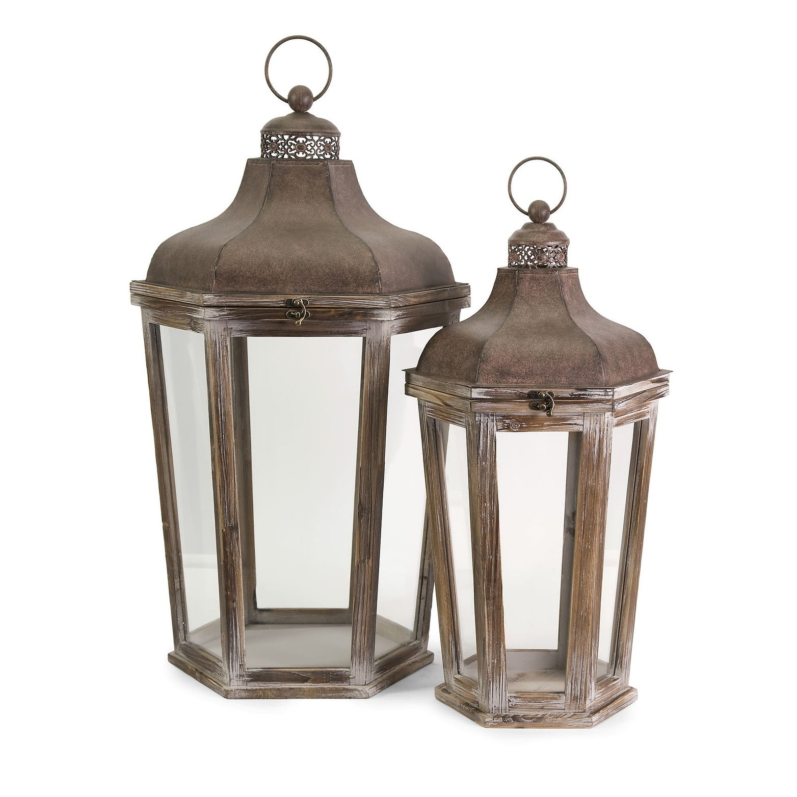 IMAX Home 89020-2  Layla 2 Piece Iron and MDF Pillar Lantern Candle Holder Set - Brown