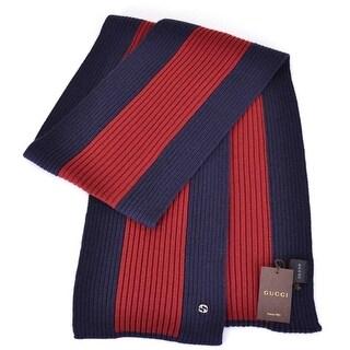 "Gucci 347963 Wool Blue Red Stripe Interlocking GG Plaque Scarf Muffler - 70"" x 9"""