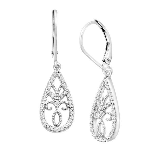 1/5 ct Diamond Drop Earrings in Sterling Silver