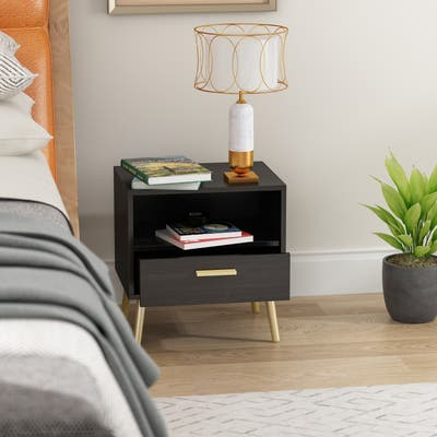 One Drawer Nightstand With One Open Shelf