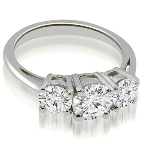 1.75 cttw. 14K White Gold Three-Stone Round Cut Diamond Engagement Ring