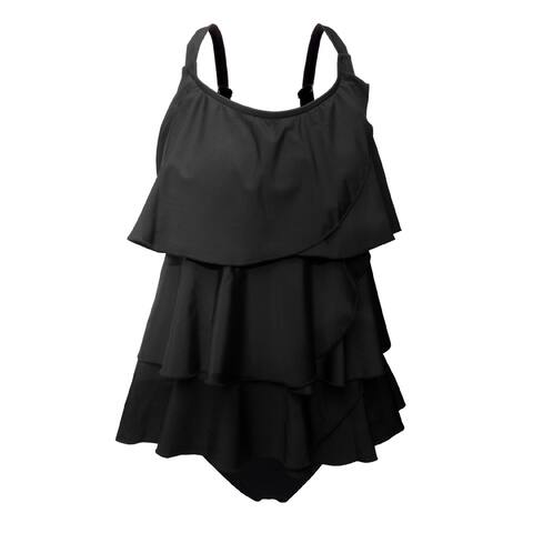 Black Multi-Tiered Brief Tankini Swimsuit Women's