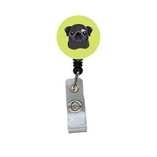 Checkerboard Lime Green Black Pug Retractable Badge Reel