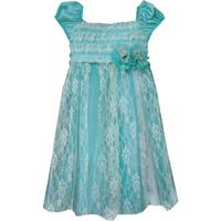 Isobella & Chloe Baby Girls Teal Seaside Escape Lace Overlay Party Dress 12-24M