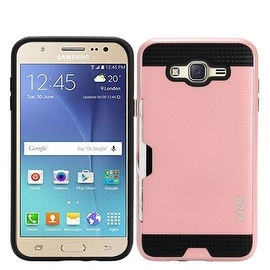 Insten Dual Layer Hybrid Rubberized Hard PC/ Silicone ID/ Card Slot Case Cover for Samsung Galaxy Amp 2/ J1 (2016)