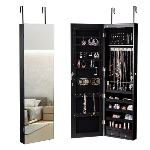 Gymax Wall & Door Mounted Mirrored Jewelry Cabinet Storage Organizer W/ Lights&Drawer