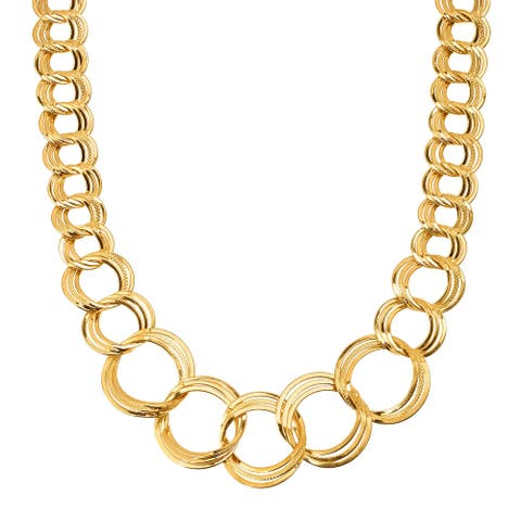"""Graduated Circle Link Necklace in 18K Gold-Plated Bronze, 18"""" - Yellow"""
