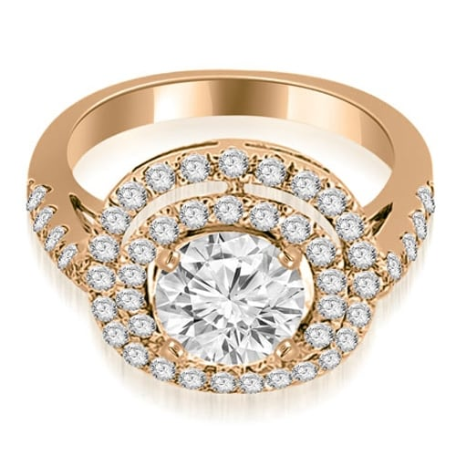 1.10 cttw. 14K Rose Gold Double Halo Round Cut Diamond Engagement Ring