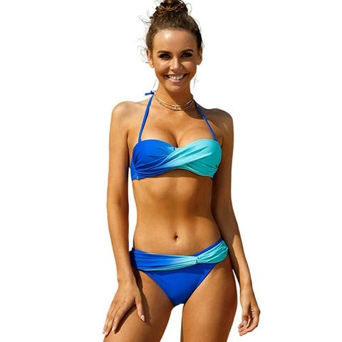 Cali Chic Women's Two Piece Swimsuit Celebrity Blue Green Tie Dye Bikini Swimwear