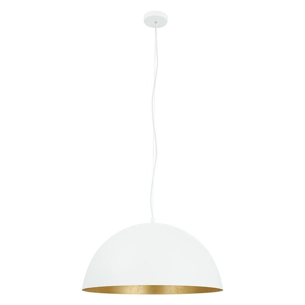 Eglo Rafaelino 24-inch White and Gold Leaf Bowl Pendant. Opens flyout.