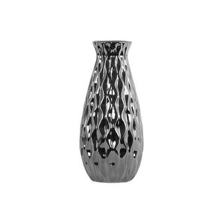 Urban Trends Ceramic Round Bellied Vase with Embossed Wave Design Body Large Polished Chrome Finish