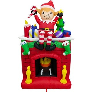 Link to Fraser Hill Farm 6.5-Ft. Tall Inflatable Elf Sitting on a Fireplace Similar Items in Christmas Decorations