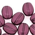 Czech Glass 8 x 6mm Flat Smooth Oval Amethyst Purple (25) - Thumbnail 0
