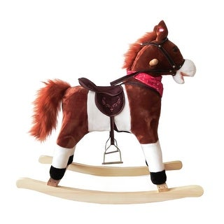 Link to Kids Plush Ride On Pony Rocking Horse Wooden Toy with Neigh Sound Dark Brown Similar Items in Bicycles, Ride-On Toys & Scooters