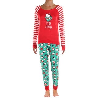 Hello Kitty Womens Snuggle Up Pajama Set Polar Fleece Holiday