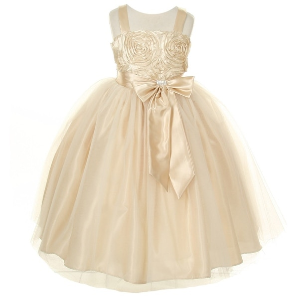 373529424a2 Shop Girls Champagne Ribbon Roses Embroidered Taffeta Flower Girl Dress 8-12  - Free Shipping Today - Overstock.com - 18166778