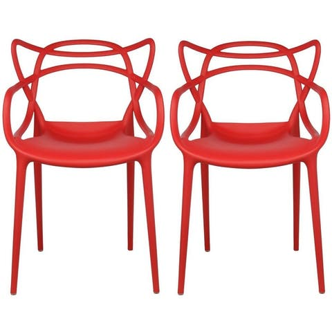 Modern Stackable Geometric Molded Dining Armchairs (Set of 2)