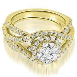 1.75 cttw. 14K Yellow Gold Exquisite Halo Multi Row Diamond Engagement Ring