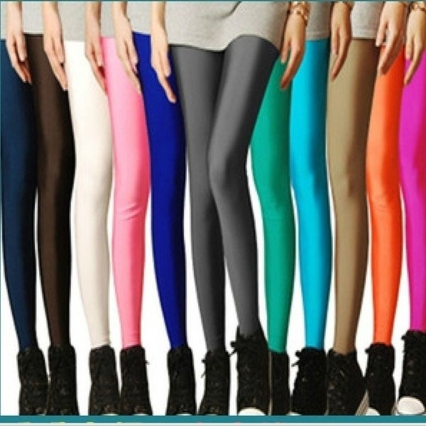 98d324c57731e ... Women's Clothing; /; Pants; /; Leggings. Hot Solid Candy Neon Plus Size  Women'S Leggings High Stretched Sports Jeggings