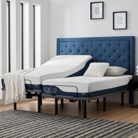 Lucid Comfort Collection 10-inch Gel & Aloe Vera Hybrid Mattress and Deluxe Adjustable Bed Set