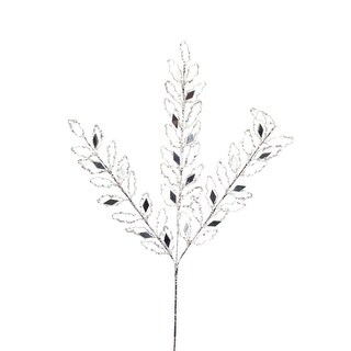 Set of 12 Sliver Glittered Leaf Christmas Spray with Jeweled Accents 31